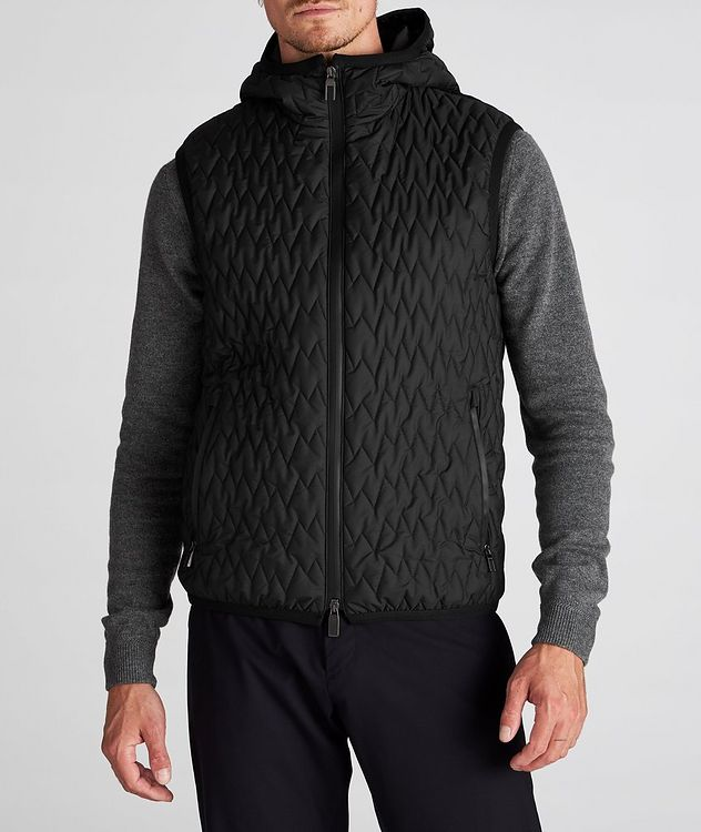 Water-Repellent Quilted Hooded Vest picture 4