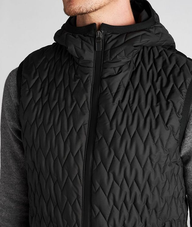 Water-Repellent Quilted Hooded Vest picture 6