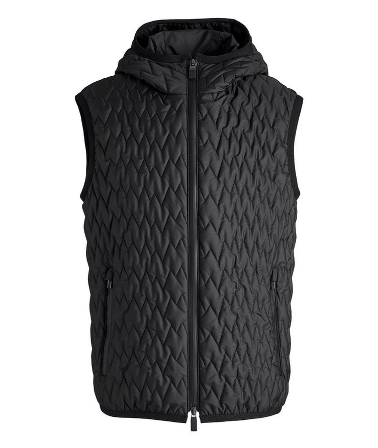 Water-Repellent Quilted Hooded Vest image 0