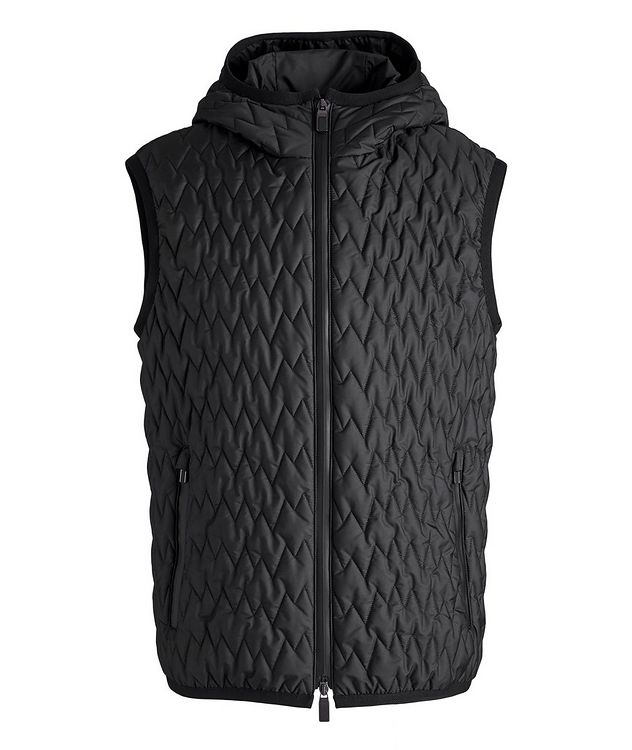 Water-Repellent Quilted Hooded Vest picture 1