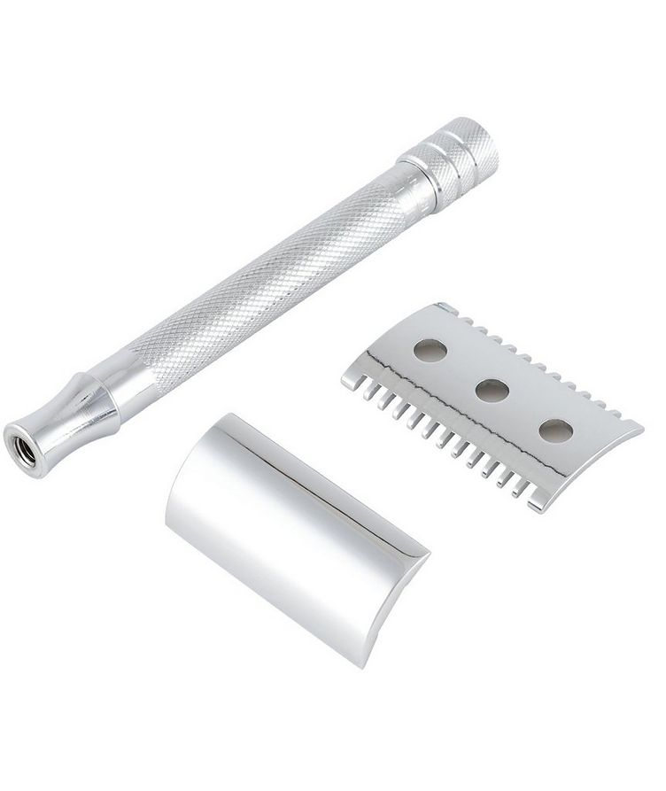 Double Edge Safety Razor, Open Tooth Comb, Extra Long Handle image 1