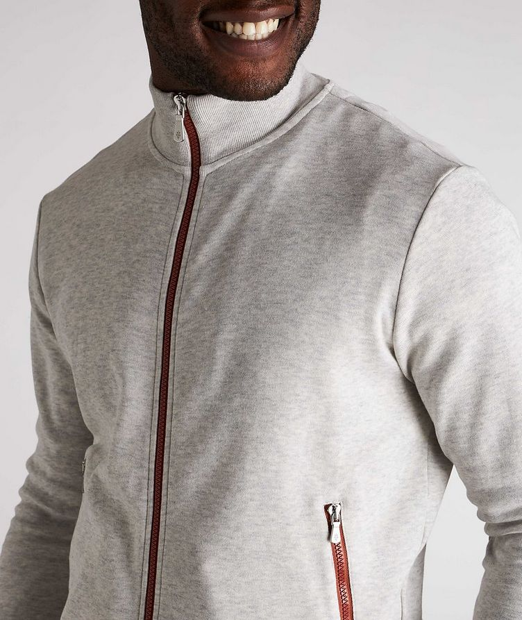 Zip-Up Cotton-Blend Sweater image 3