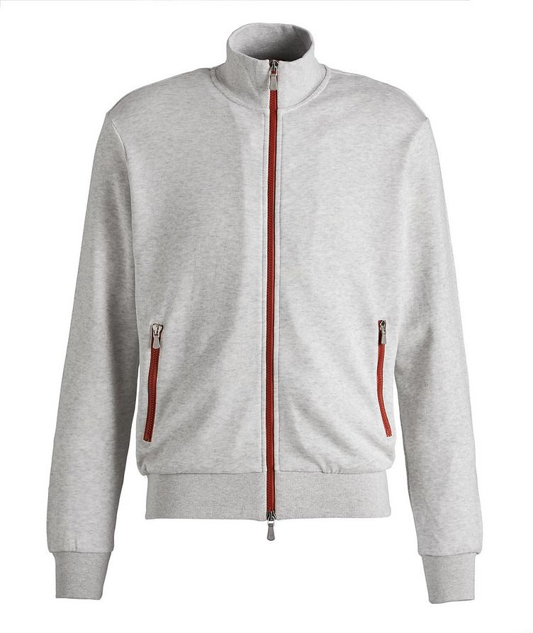 Zip-Up Cotton-Blend Sweater image 0