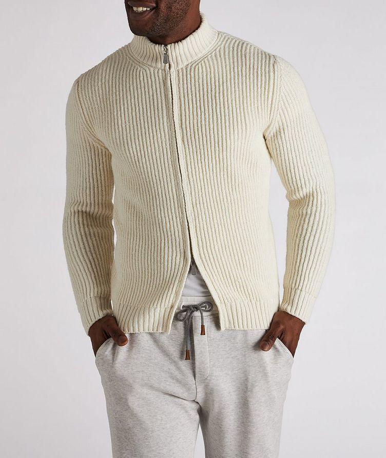 Zip-Up Wool-Cashmere Tweed Sweater image 1