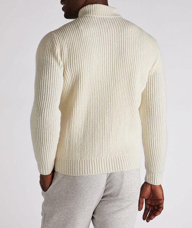 Zip-Up Wool-Cashmere Tweed Sweater image 2