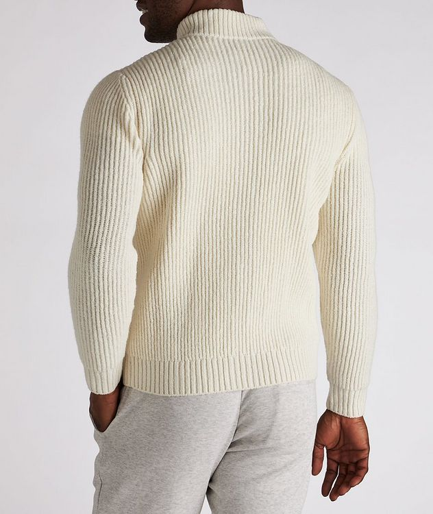 Zip-Up Wool-Cashmere Tweed Sweater picture 3