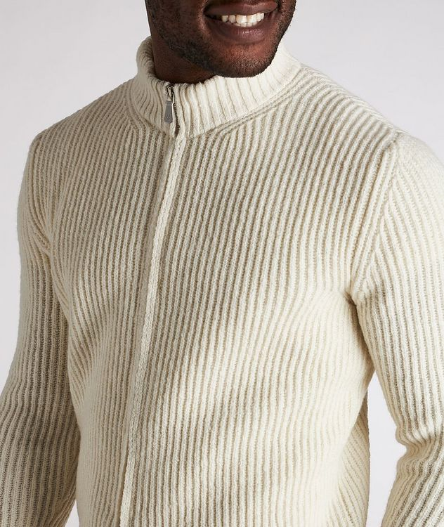 Zip-Up Wool-Cashmere Tweed Sweater picture 4