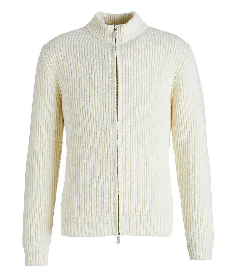 Zip-Up Wool-Cashmere Tweed Sweater image 0
