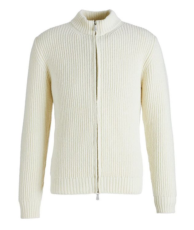 Zip-Up Wool-Cashmere Tweed Sweater picture 1