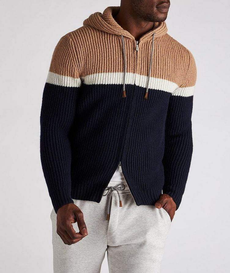 Striped Wool-Cashmere Hoodie image 1