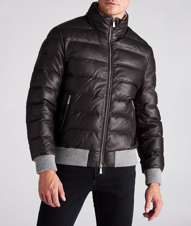 Padded Nappa Leather Bomber Jacket picture 2