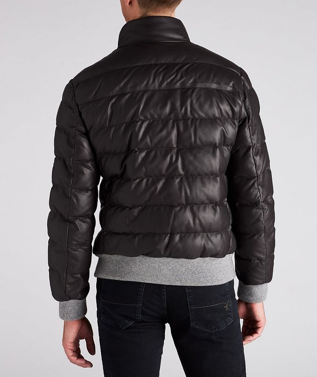 Padded Nappa Leather Bomber Jacket picture 3