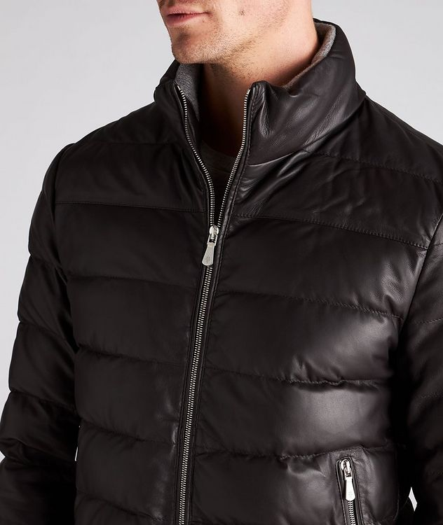 Padded Nappa Leather Bomber Jacket picture 4