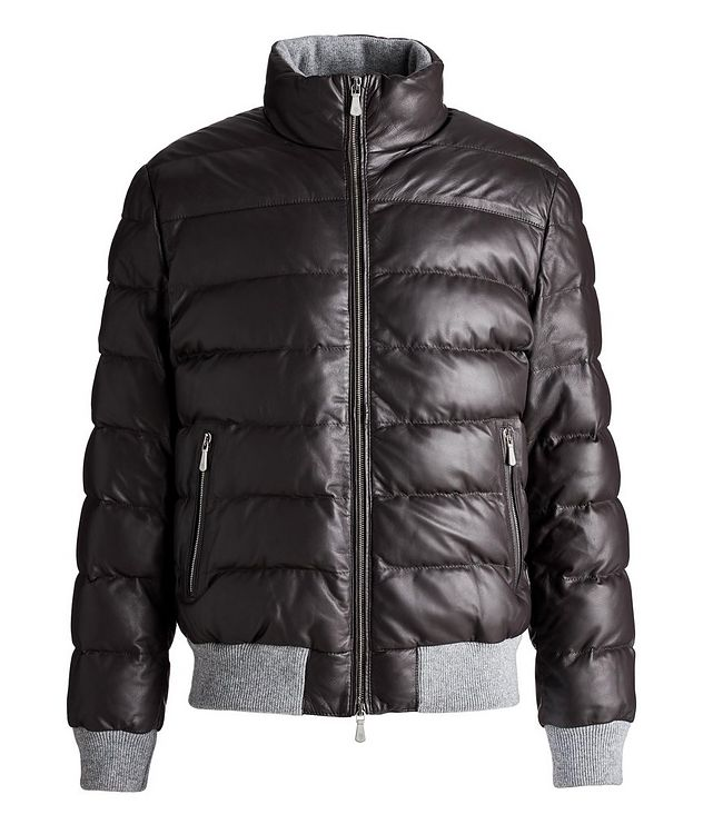 Padded Nappa Leather Bomber Jacket picture 1