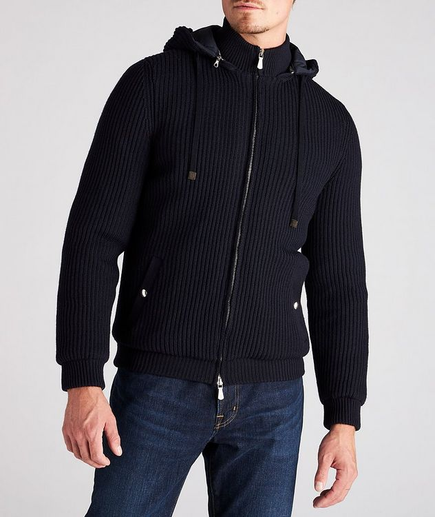 Hooded Wool Bomber Jacket picture 2