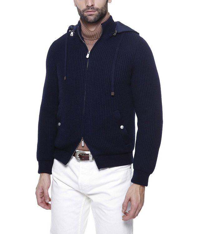 Hooded Wool Bomber Jacket picture 4