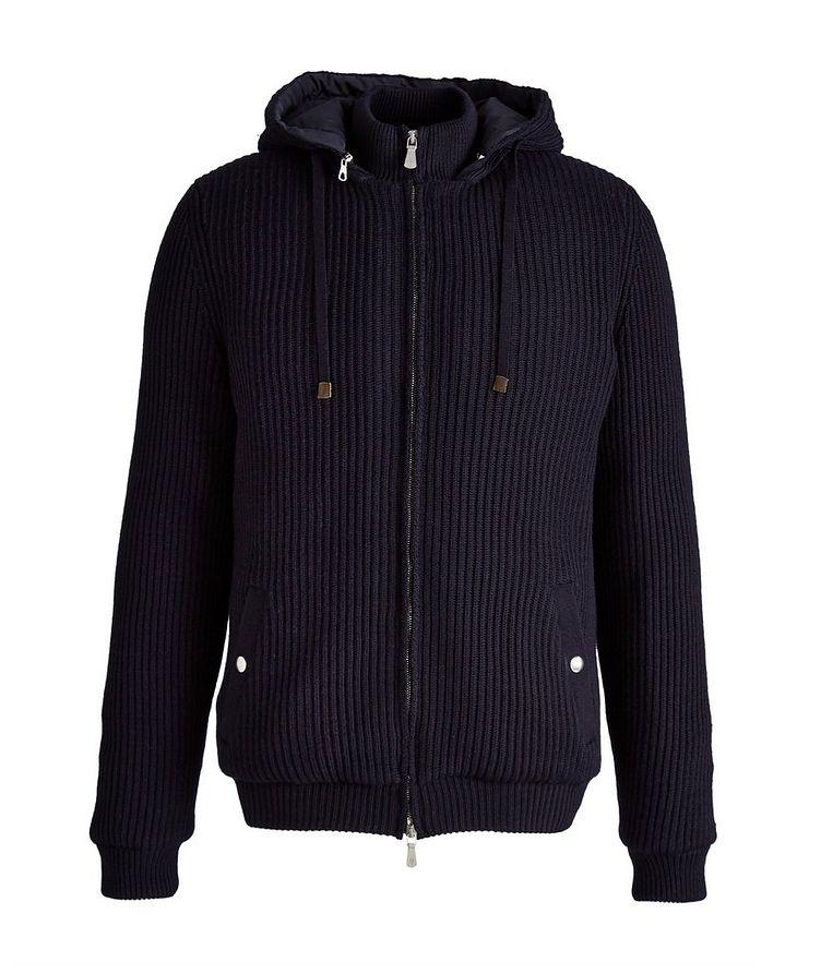 Hooded Wool Bomber Jacket image 0