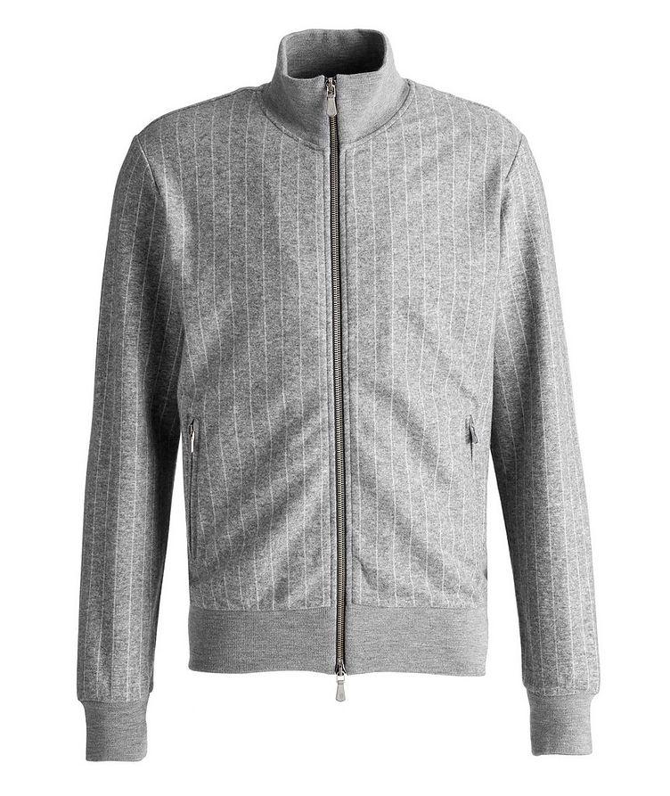 Pinstripe Cashmere-Cotton Bomber Jacket image 0