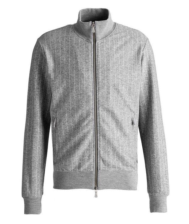 Pinstripe Cashmere-Cotton Bomber Jacket picture 1