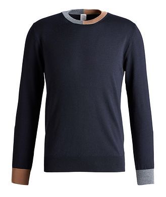 Eleventy Contrast Hem Wool Crew Neck Sweater