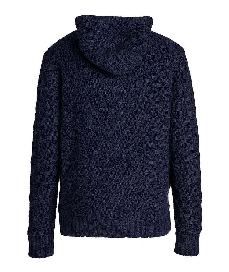Zip-Up Cable Knit Cashmere Hoodie image 1