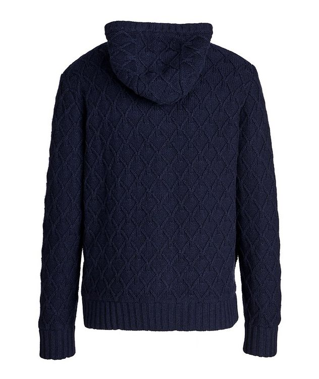 Zip-Up Cable Knit Cashmere Hoodie picture 2