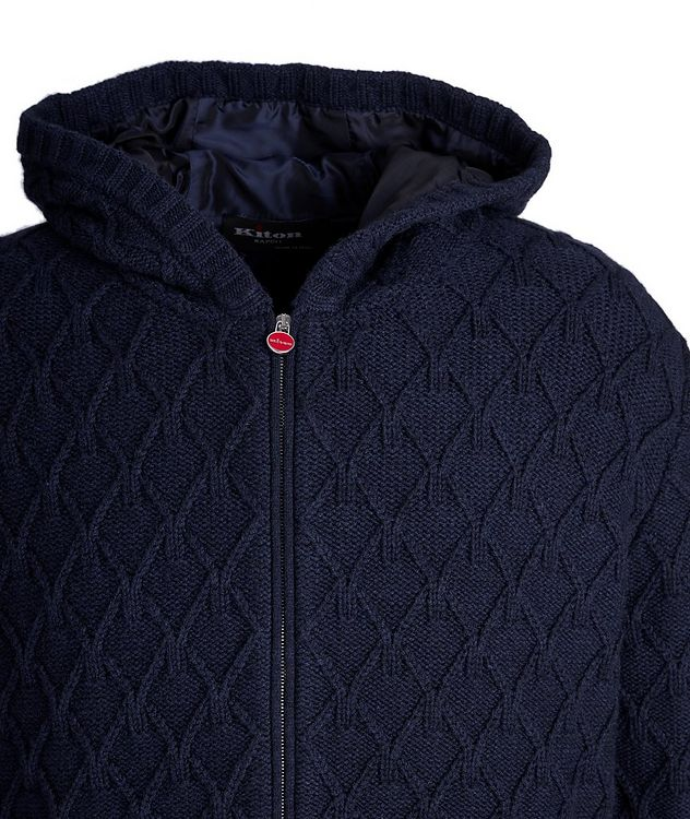 Zip-Up Cable Knit Cashmere Hoodie picture 3