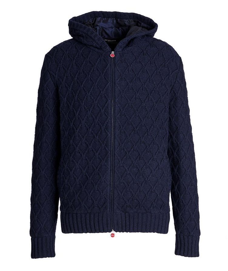 Zip-Up Cable Knit Cashmere Hoodie image 0