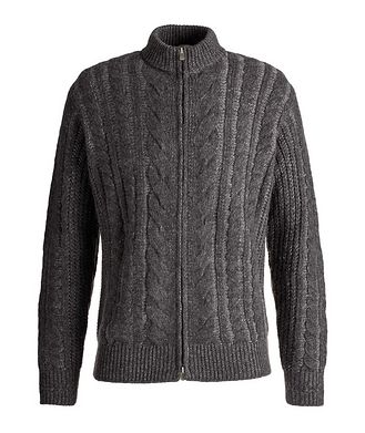 Agnona Knitted Zip-Up Cashmere-Silk Sweater