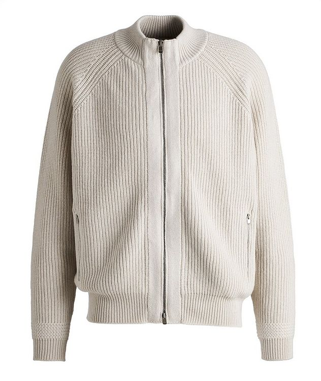 Zip-Up Cashmere Knit Cardigan picture 1