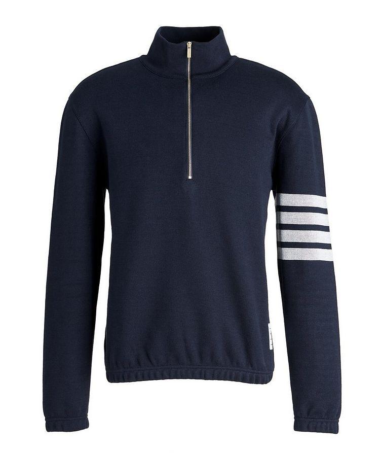 Half-Zip Cotton Funnel Neck Sweater image 0