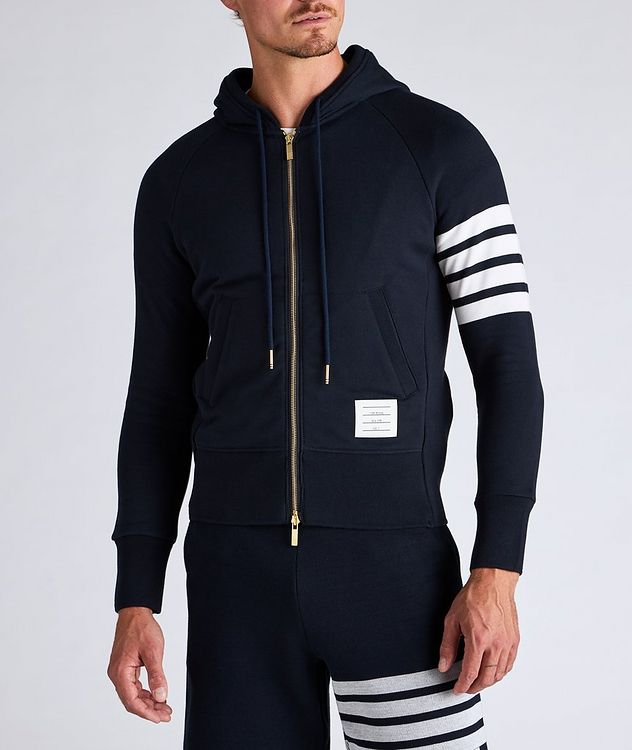 Four-Bar Stripe Zip-Up Cotton Hoodie picture 2