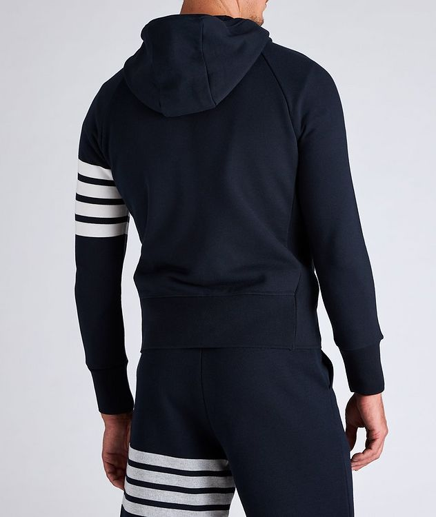 Four-Bar Stripe Zip-Up Cotton Hoodie picture 3