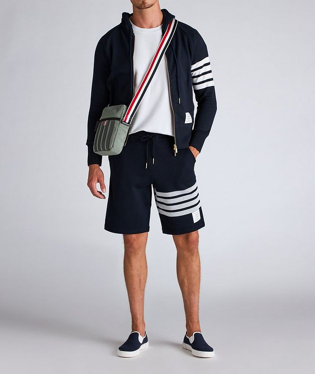 Four-Bar Stripe Zip-Up Cotton Hoodie picture 5