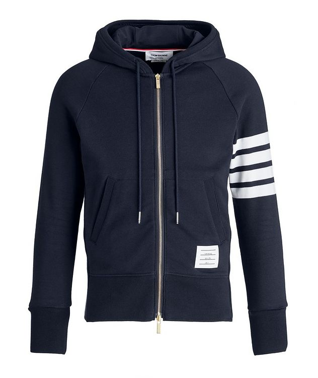 Four-Bar Stripe Zip-Up Cotton Hoodie picture 1