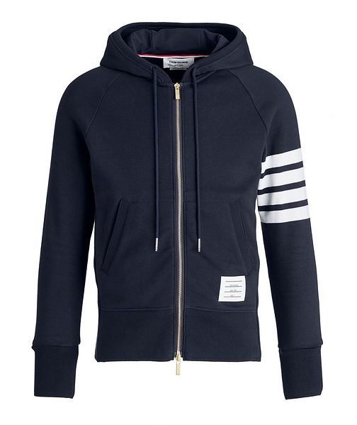 Thom Browne Four-Bar Stripe Zip-Up Cotton Hoodie