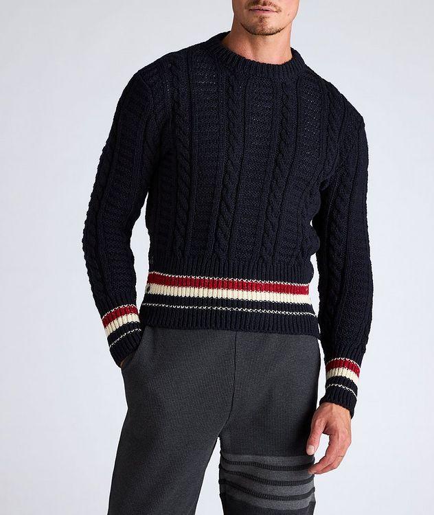 Pull en tricot torsadé de laine et mohair à rayures picture 2