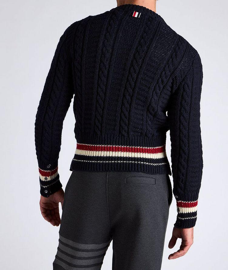 Pull en tricot torsadé de laine et mohair à rayures image 2