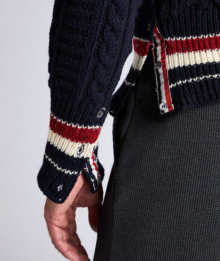 Pull en tricot torsadé de laine et mohair à rayures image 3