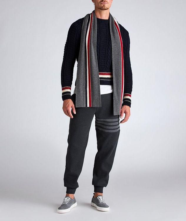 Pull en tricot torsadé de laine et mohair à rayures picture 5