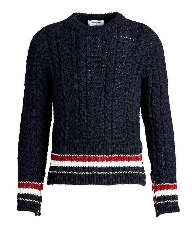 Pull en tricot torsadé de laine et mohair à rayures picture 1