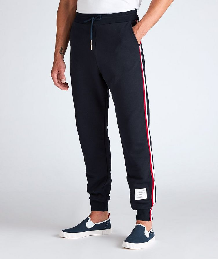 Stripe Drawstring Cotton Sweat Pants image 1