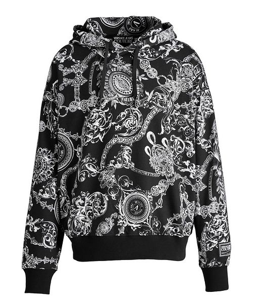 Versace Collection Baroque Drawstring Cotton Hoodie
