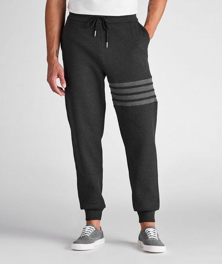 Four-Bar Stripe Waffle-Knit Cotton Sweat Pants image 1