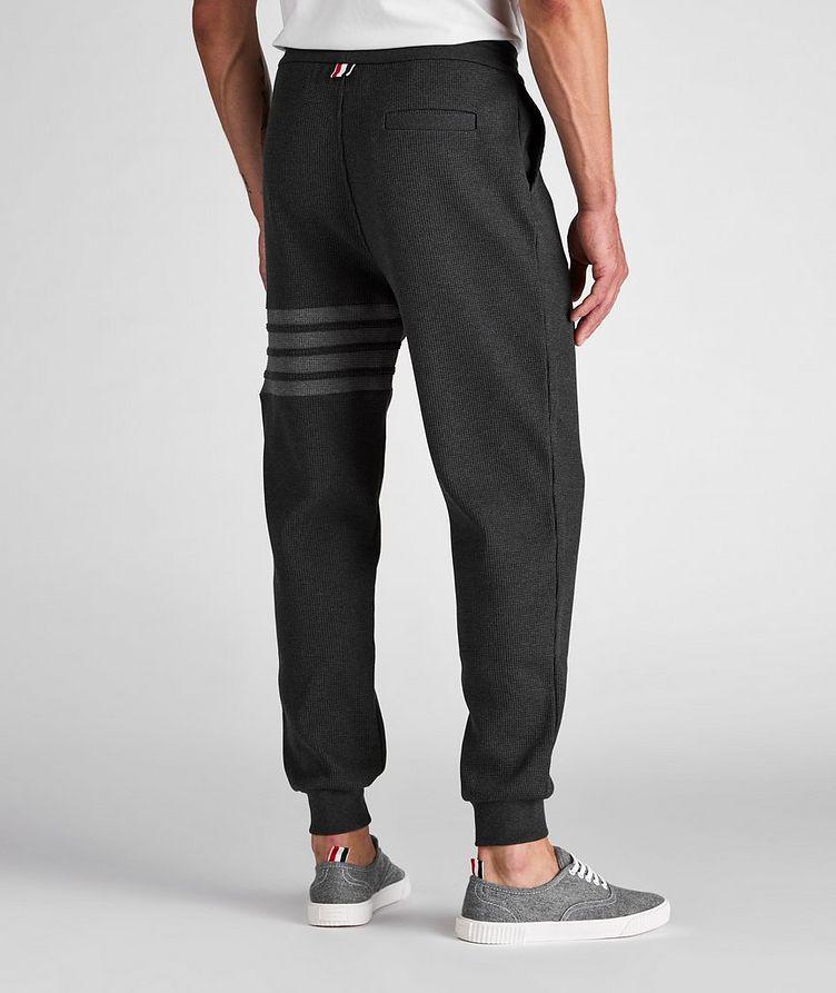 Four-Bar Stripe Waffle-Knit Cotton Sweat Pants image 2