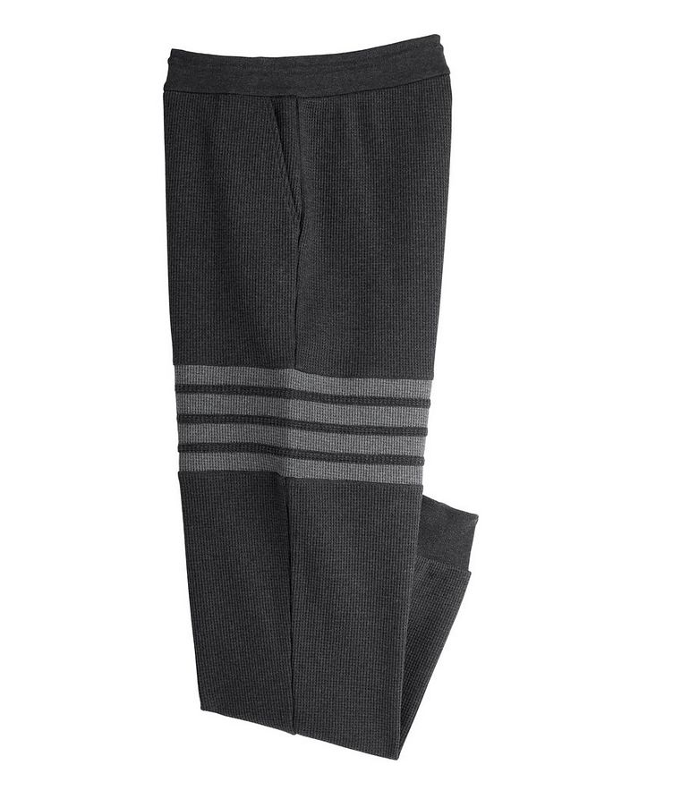 Four-Bar Stripe Waffle-Knit Cotton Sweat Pants image 0