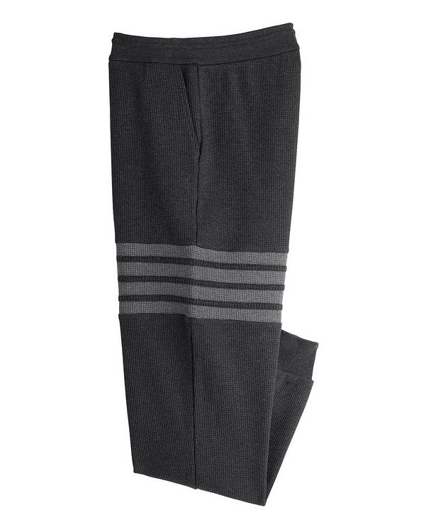Four-Bar Stripe Waffle-Knit Cotton Sweat Pants picture 1