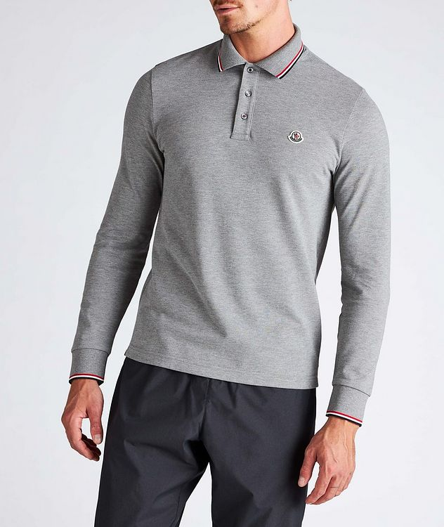 Long-Sleeve Piqué Cotton Polo picture 2