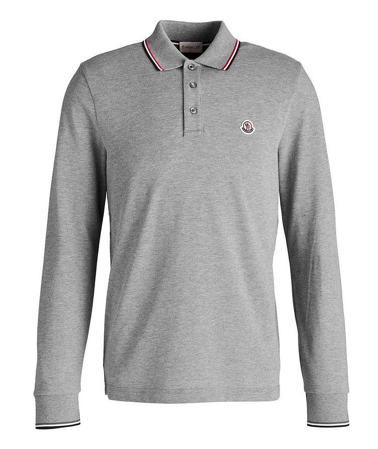 Long-Sleeve Piqué Cotton Polo image 0