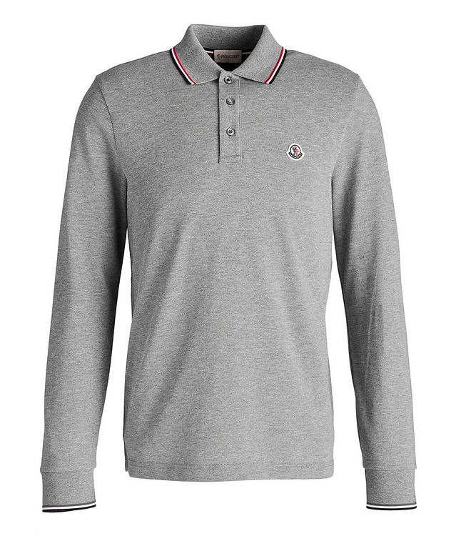 Long-Sleeve Piqué Cotton Polo picture 1